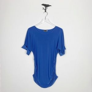 Sympli Periwinkle Blue Side Ruched Blouse